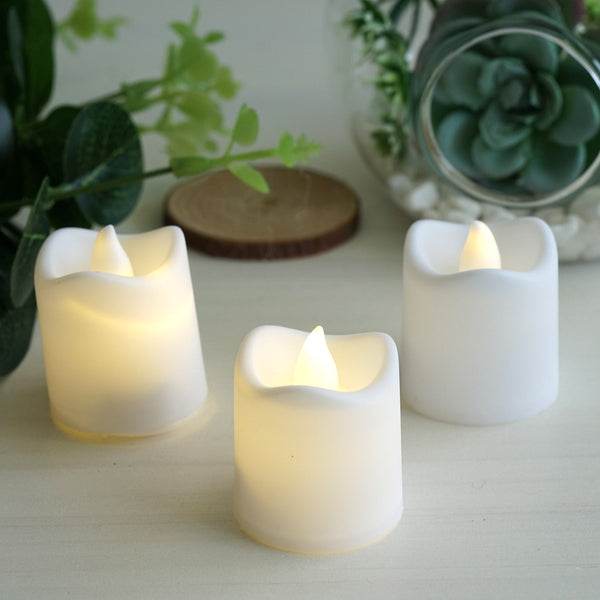 12 Pack - White Flameless LED Candles - Battery Operated Tea Light Candles