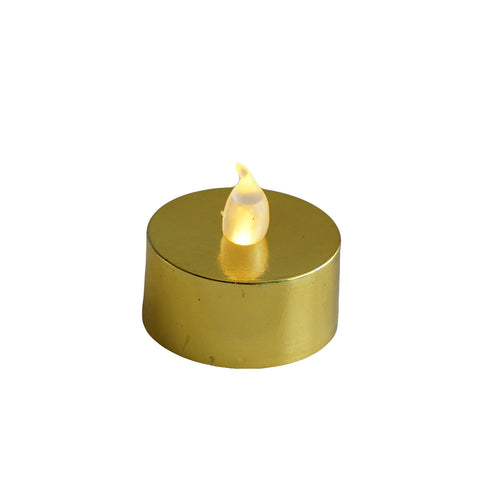 12 Pack - Metallic Flameless LED Candles - Battery Operated Tea Light Candles - Gold
