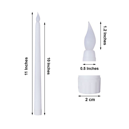 "Set of 3 | 11"" White Flickering Flameless Battery Operated LED Taper Candles"