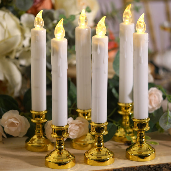 "Set of 6 | 10"" White Flickering Flameless Battery Operated LED Taper Candles with Removable Gold Candle Holders, Window Candles"