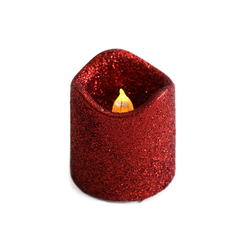 12 Pack - Red Glitter Flameless Candles LED - Battery Operated Votive Candles