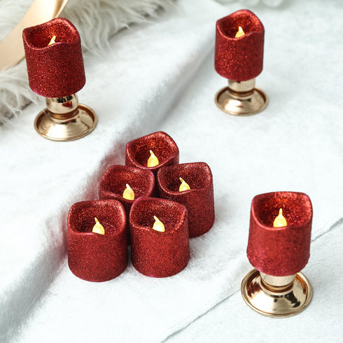 12 Pack | Glitter Flameless Candles LED | Votive Candles - Red | eFavormart