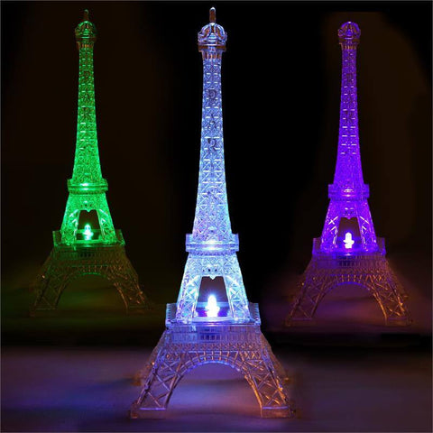 "Quixotic Light Changing Acrylic 10"" Eiffel Tower"