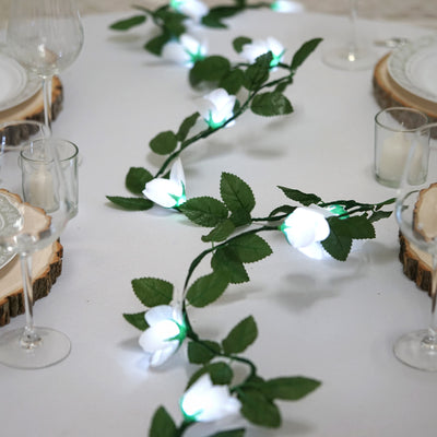 4 Pack 40 LED White Pre Lit Battery Operated Flower Garland Fairy String Lights