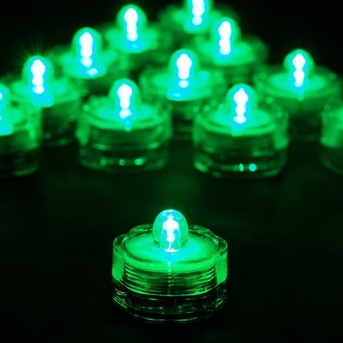 Submersible LED Waterproof Light RGB for Vase Wedding Party Fish Tank - Green-12pcs