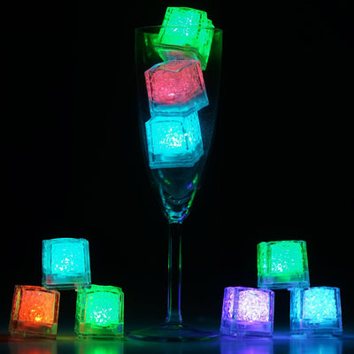 12 Pack 7 Color Changing Light Up LED Submersible Waterproof Ice Cubes With & On/Off Switch