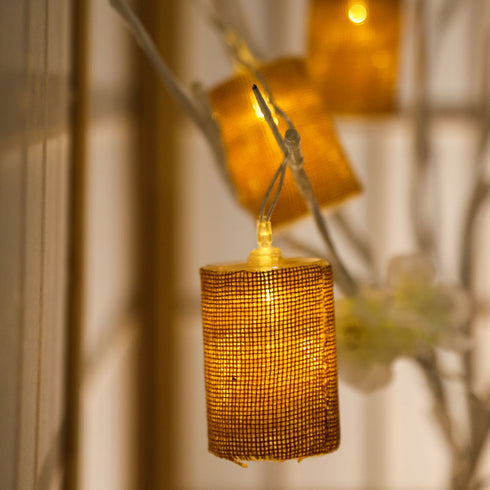 "70"" Burlap Fairy String Lights With 10 Bright White LEDs"