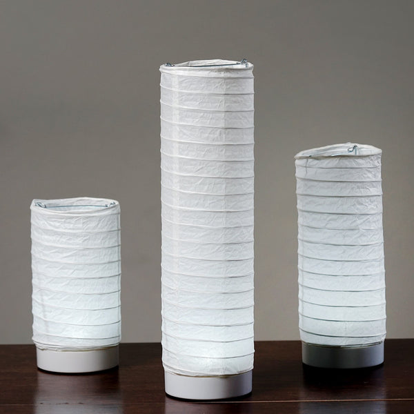 3 Pcs Cylinder Led Light Up Tabletop Paper Lanterns For