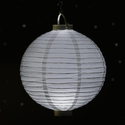 "4 Pack | 8"" White Hanging Paper Lantern LED Lights"