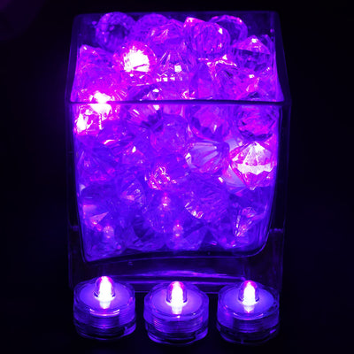 12 Pack | Purple Waterproof Battery Operated Submersible LED Lights