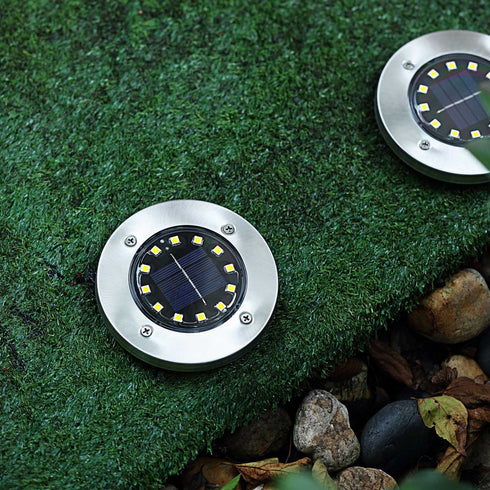 4 Pack | 12 LED Warm White Waterproof Solar Disk Pathway Garden Lights