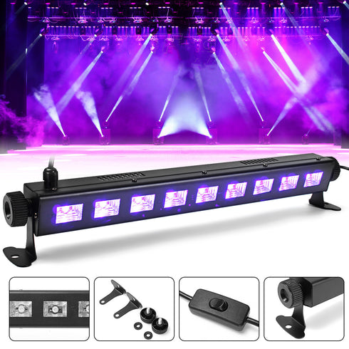 9 LED Adjustable Black Light, 27W LED UV Bar Purple Wall Washer Lights