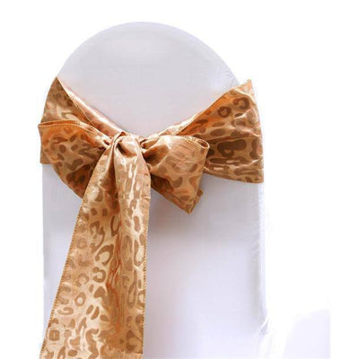 5pc x Golden Leopard Chair Sash - Gold / Gold