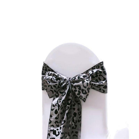 "6x108"" Silver/Black Taffeta Leopard Print Chair Sashes 