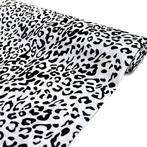 "Wholesale Taffeta Leopard Cheetah Animal Print Fabric Bolt  By Yard For Wedding Theme Party Event Decoration-54"" x 10Yards - Black / White"