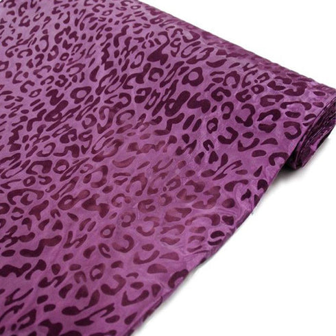 "Wholesale Taffeta Leopard Cheetah Animal Print Fabric Bolt By Yard For Wedding Theme Party Event Decoration - 54"" x 10Yards - Eggplant / Eggplant"