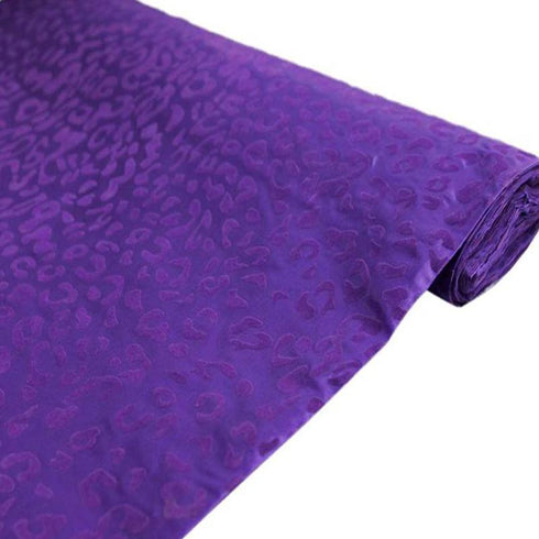 "Wholesale Taffeta Leopard Cheetah Animal Print Fabric Bolt By Yard For Wedding Theme Party Event Decoration - 54"" x 10Yards - Purple / Purple"