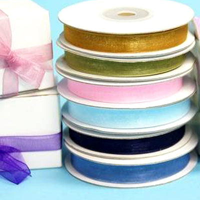 "3/8""Organza Ribbon Lots With Satin Edges - 25 Yard"