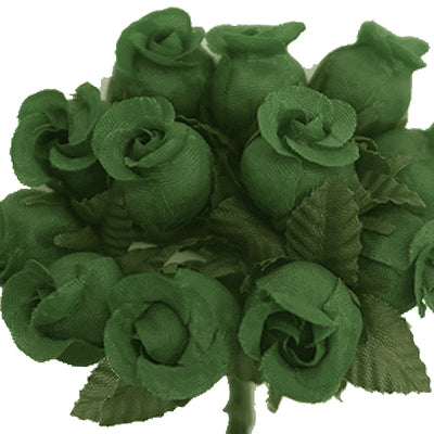 144 Pack Hunter Green Artificial Rose Buds