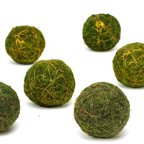 "6 Pack | 4"" Handmade Natural Preserved Mood Moss Balls With Golden Twine"