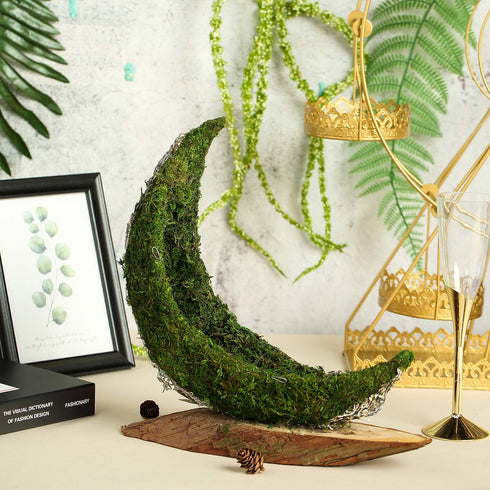"13"" Crescent Half Moon Fall Decor Preserved Natural Moss Centerpiece With Wooden Slab"
