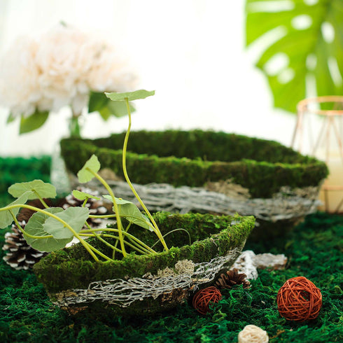 "Set of 2 | Oval Preserved Natural Moss Centerpiece Planter Baskets With Twigs Barks & Twine Decor - 14"" & 12"""