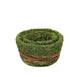 "Set of 2 | Natural Cedar Twig Round Preserved Moss Planter Box - 4.5"" & 4"""