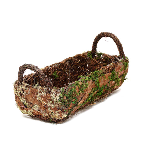 "Set of 2 |  Preserved Moss Planter Box Flower Baskets With Handle - 13"" & 15"""