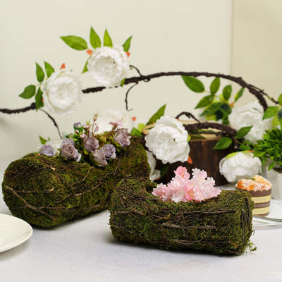 "Set of 2 | Preserved Mood Moss Planter Box Flower Basket with Twigs - 10"" & 12"""
