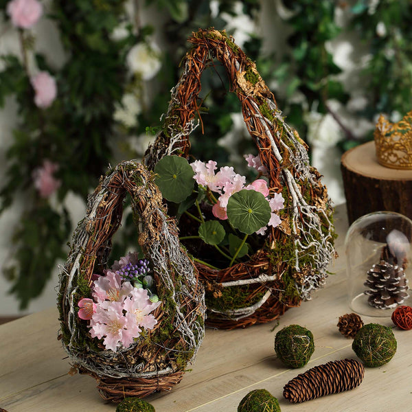 Byher 17C146 Preserved Moss Basket Planters with Liner for Weding//Decor Set of 2