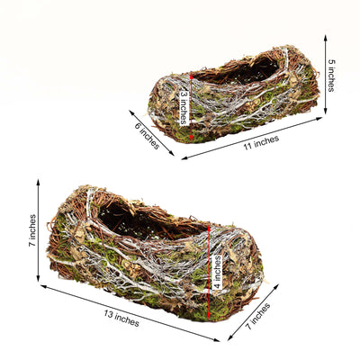 "Set of 2 | Preserved Moss Planter Box Rustic Table Decor- 11"" & 13"""