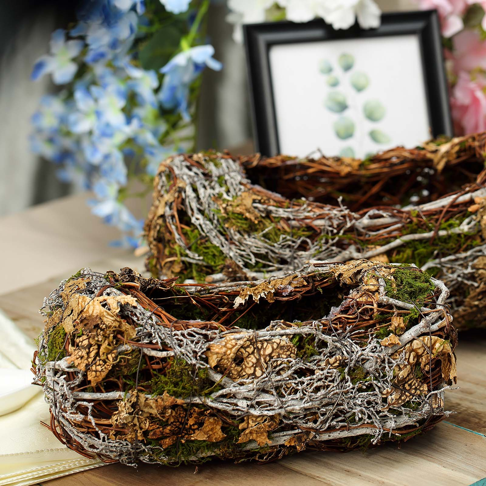 Set Of 2 Preserved Moss Planter Box Rustic Table Decor 11 13