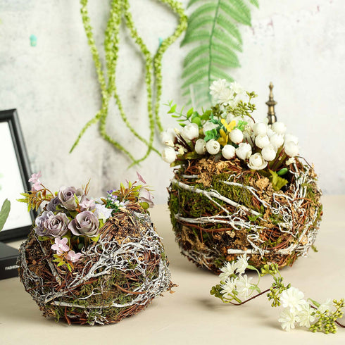 "Set of 2 | Rustic Twigs & Moss Planter Box Bird Nest - 10"" & 8"""