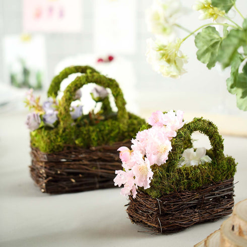 "Set of 2 | Rustic Twig Preserved Mood Moss Wedding Purse Planter Box - 8"" & 7"""