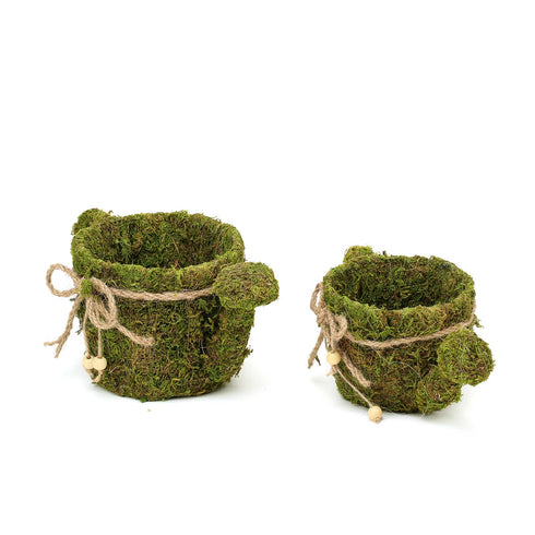 "Set of 2 | Preserved Moss Watering Can Planter Box with Natural Braided Twine Bow - 11"" & 10"""