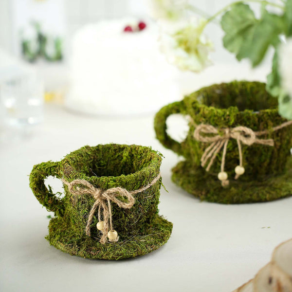 "Set of 2 Preserved Moss Teacup Planter Box with Natural Braided Twine Bow - 5"" & 4"""