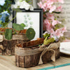 "Set of 2 | Natural Bark Twine Rustic Flower Planter Box with Natural Jute Bows – 14"" & 10"""