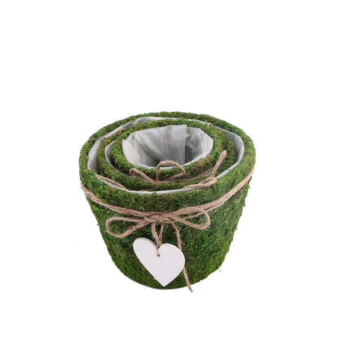 "Set of 3 - Round Preserved Moss Planter Pots with Inner Lining - Twine and Hanging Heart Included - 4"", 5"", 6"""