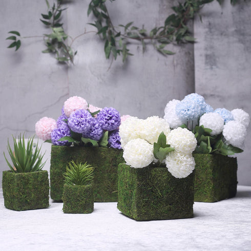 "Set of 5 - Square Preserved Moss Planter Boxes, Moss Covered Flower Basket Planter with Inner Lining - 3"", 4"", 6"", 7"", 9"""
