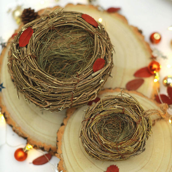 "Set of 2 - Natural Twig Bird Nest, Home Made Rattan Planters - 4.5"" & 7.5"""