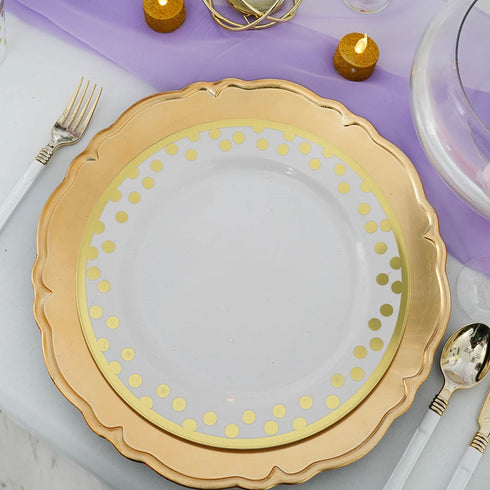 "Pack of 6 | 13"" Metallic Gold Scalloped Edge Acrylic Plastic Charger Plates"