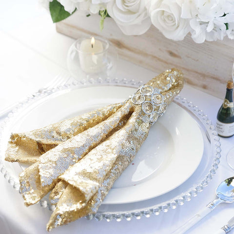 1 PCS Premium Sequin Napkin For Wedding Banquet Party Table DecorationCHAMPAGNE - 20x20""