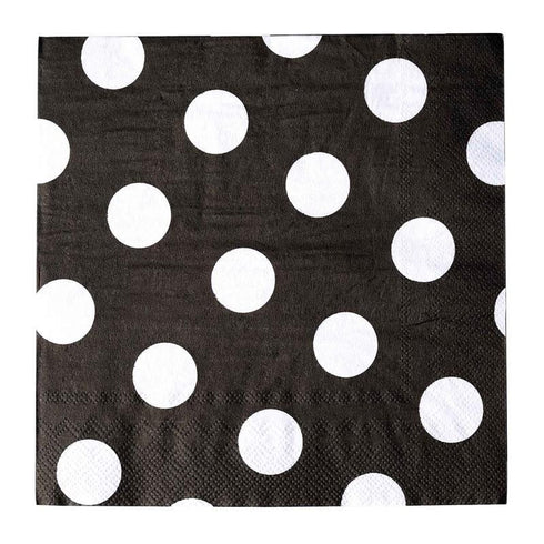 Big Polka Dots Restaurant Party Beverage Paper Napkins - Black and White - 20 PCS