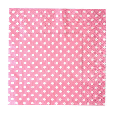 "20 Pack 13"" Polka Dots 2 Ply Paper Beverage Napkins - Pink/White"