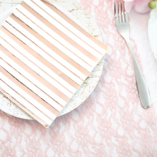 Fresh Mint Green and Gold Foil Striped Napkins 48 Count