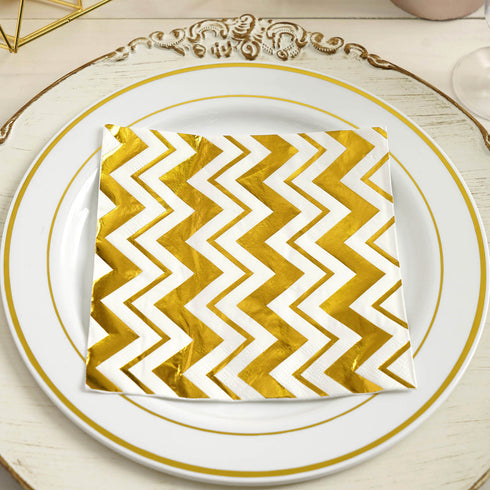20 Pack - 3 Ply Metallic Gold Chevron Paper Dinner Napkins - Wedding Cocktail Napkins