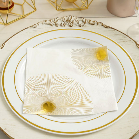 20 Pack - 3 Ply Metallic Gold Sunbursts Paper Dinner Napkins - Wedding Cocktail Napkins
