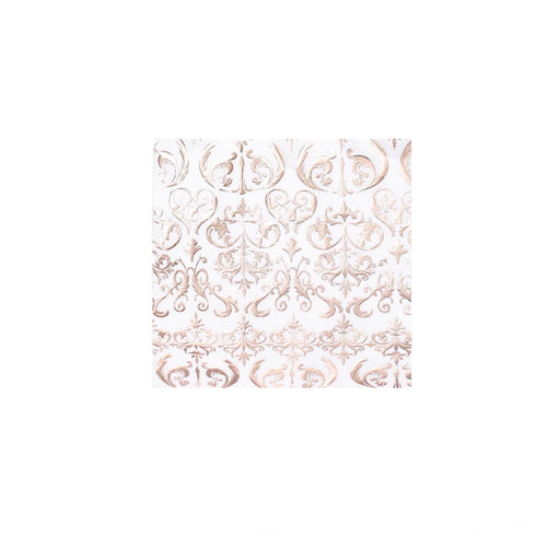 20 Pack - 3 Ply Metallic Rose Gold Vintage Pattern Paper Dinner Napkins - Wedding Cocktail Napkins