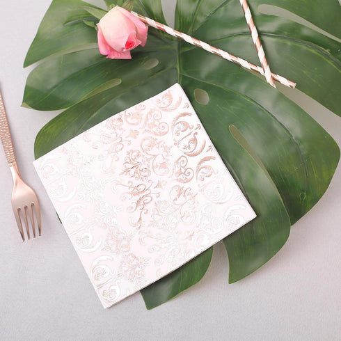 20 Pack | 3 Ply Metallic Rose Gold Vintage Pattern Paper Napkins | Wedding Cocktail Napkins | Dinner Napkins