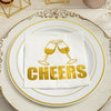 20 Pack - 3 Ply Metallic Gold Paper Dinner Napkins - Wedding Cocktail Napkins - Champagne Glass Toast with Cheers